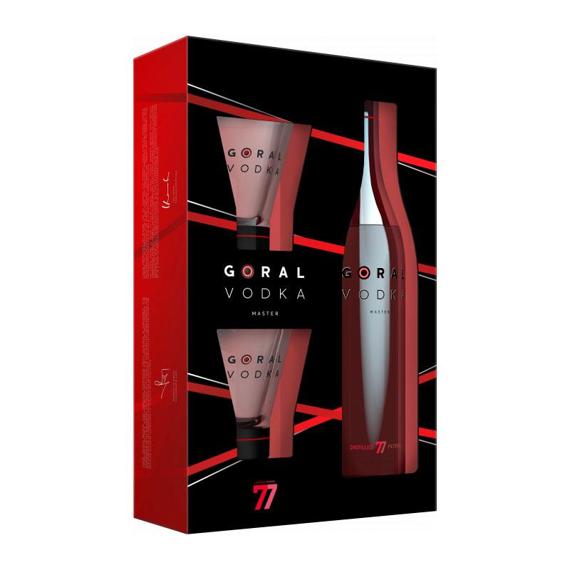 Goral Vodka MASTER 40% 0,7 l darčekové balenie s pohármi