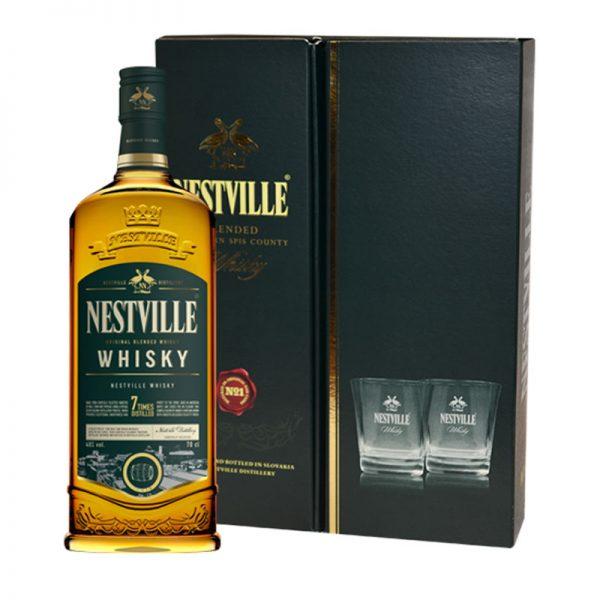 Whisky Nestville Blended Whisky 40% 0,7L darčekové balenie s pohármi